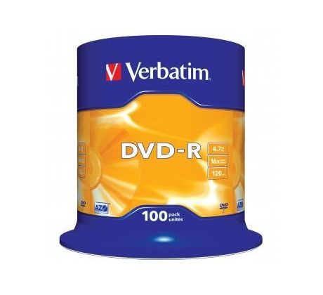 Verbatim DVD-R, 43549, DataLife PLUS, 100-pack, 4.7GB, 16x, 12cm, General, Advanced Azo+, cake box, Scratch Resistant, bez možnost